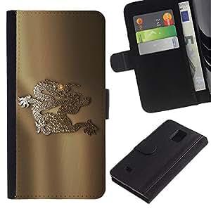 JackGot ( marche art logo ) Samsung Galaxy Note 4 IV la tarjeta de Crédito Slots PU Funda de cuero Monedero caso cubierta de piel