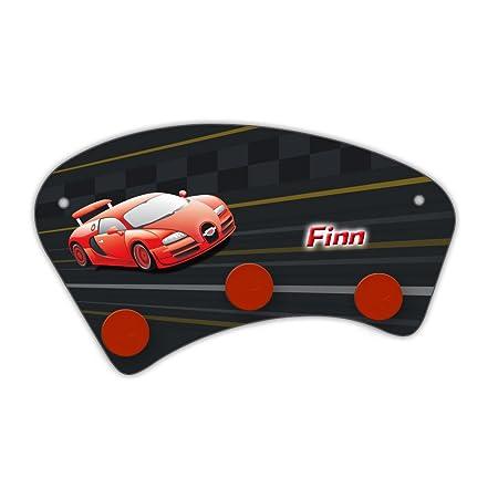 Wand Garderobe Mit Namen Finn Und Schonem Racing Motiv Fur Jungs