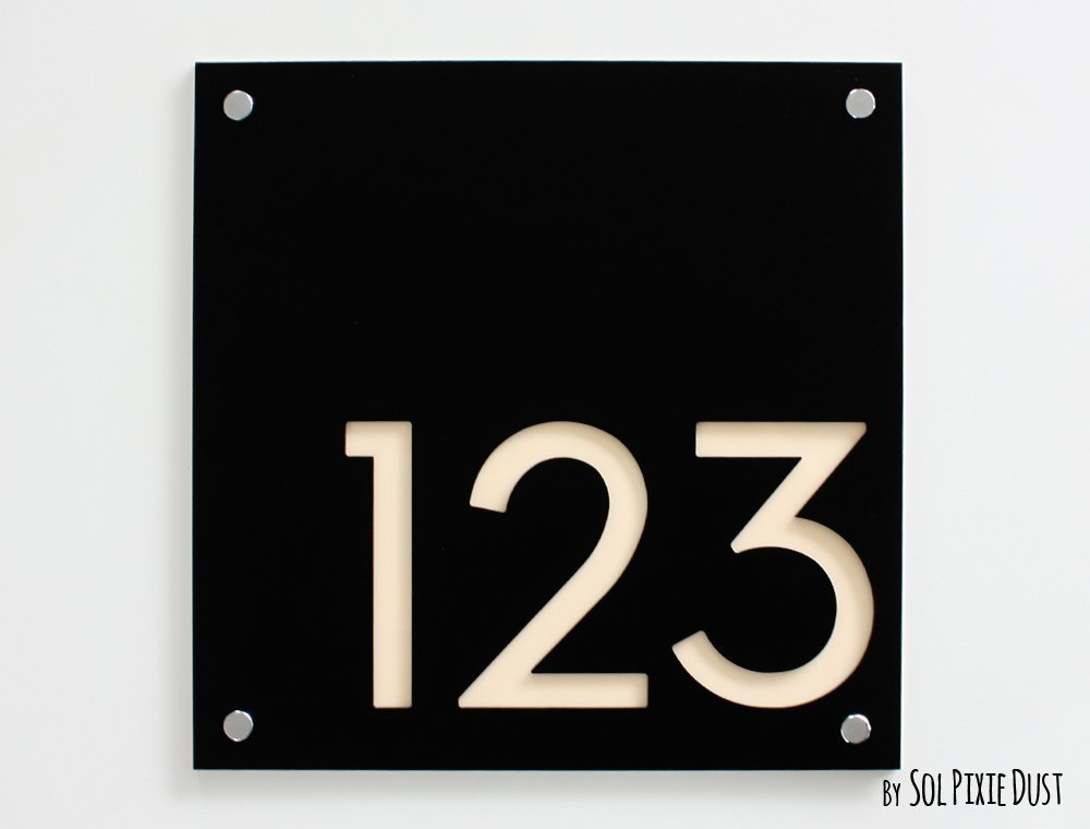 Modern House Numbers, Square Black with Beige Acrylic - Contemporary Home Address - Sign Plaque - Door Number