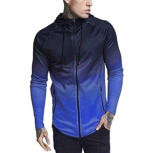 86bae7e74f5c6 Amiley mens hoodies,Men's Fashion Gradual Change Hoodie Tops Zipper Hooded  Sweatshirt Outwear Jacket Coat