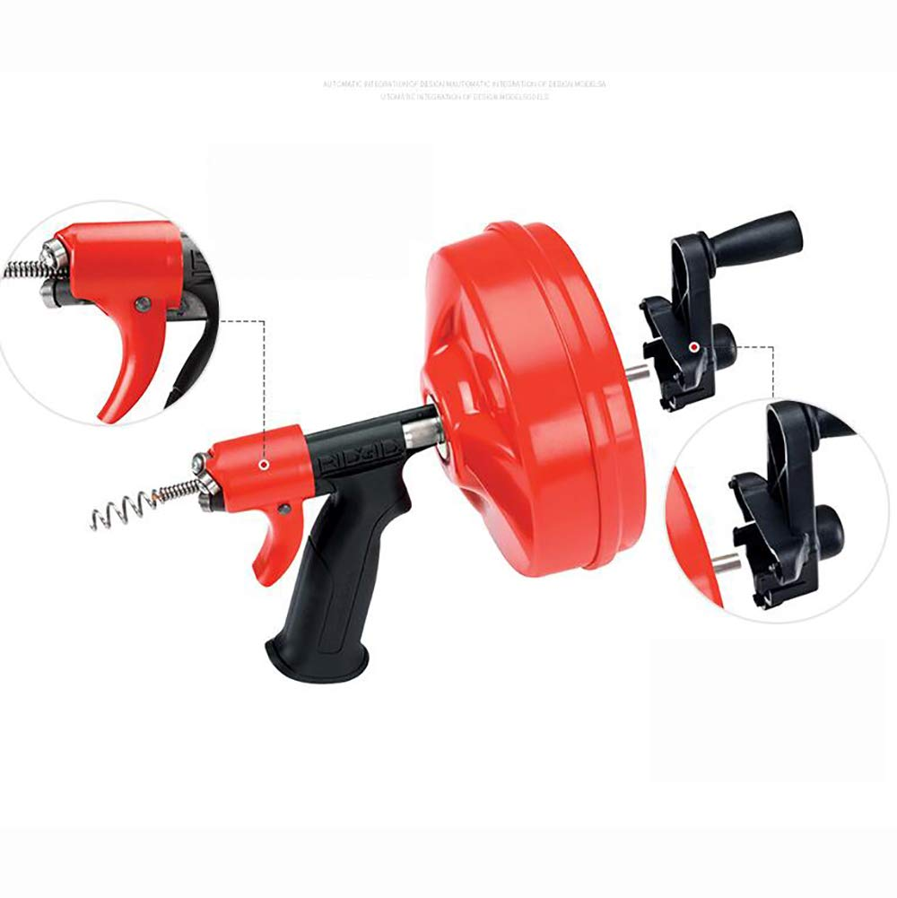 T-king Electric Manual Toilet Dredging Machine Chargable Drill 12.6-40MM Pipe Cleaner Drain Cleaning Machine 7.6M by T-king