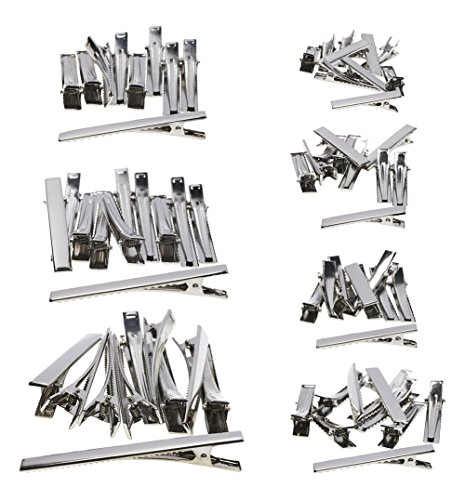 Shapenty 7 Sizes Silver Metal DIY Alligator Teeth Prongs Hair Clips Clamps Holders for Arts Crafts Projects, Dry Hanging Clothing, Office Paper Document Organization, 70Pieces ()
