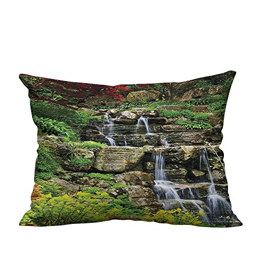 YouXianHome Sofa Waist Cushion Cover Cascading Waterfall in Japanese Garden Spring Time with Other Fresh Plants Calm Decorative for Kids Adults(Double-Sided Printing) 19.5x60 inch