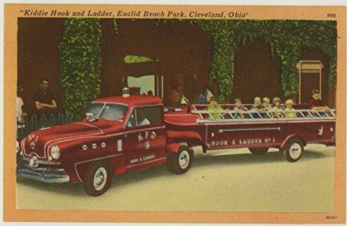 Kiddie Hook and Ladder Fire Truck Ride - Euclid Beach Amusement Park - Cleveland Ohio - Vintage 1941 Tichnor Postcard