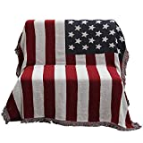 50'' X 70'' Double Sided Cotton Woven Couch Throw Blanket Featuring Decorative Tassels - The Old Glory, Blue/White/Red