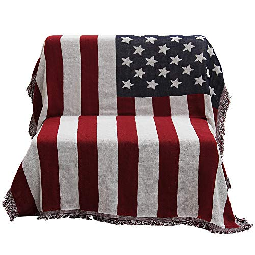 50'' X 70'' Double Sided Cotton Woven Couch Throw Blanket Featuring Decorative Tassels - The Old Glory, Blue/White/Red by Beautiful-tech