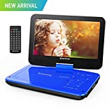 Portable DVD Player 9'' with 5 Hours Rechargeable Battery by SPACEKEY, Swivel Screen, Support USB/SD Slot and 1.8M Car Charger, Support Memory and Region Free (Blue)