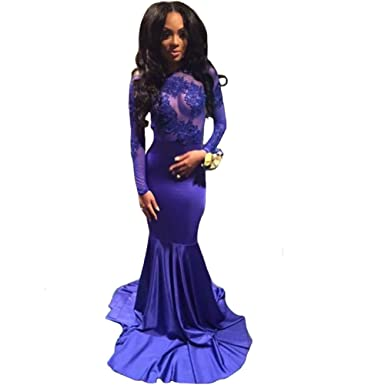 YUHEYUHE showlife Royal Blue Prom Dress Backless Long Sleeve Mermaid African Prom Dresses (US 2