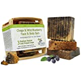 Maine Chaga & Wild Blueberry Soap, (3) Face & Body Bars, Unique Gift, Natural Soaps With Maine Chaga Mushroom, Wild Blueberries, and Goat's Milk