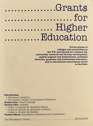 Grants For Higher Education: Covers Grants to Colleges and Universities in the U.S. and Abroad for: Student Aid, University Research and Faculty ... and to Educational Associations Activ