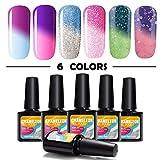 Mood Changing Nail Polish Modelones Mood Gel Nail Polish Set,Soak Off UV Chameleon Color Changing Nail Polish Kit 6 Colors 10ml