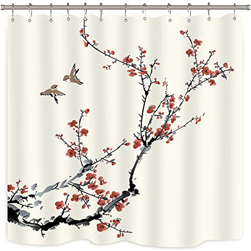 - Riyidecor Blossom Cherry Buds Shower Curtain Panel Weighted Hem Branches Asian Style Japanese Chinese Painting Birds Decor Fabric Set Polyester Waterproof Fabric 72x72 Inch Free 12-Pack Plastic Hooks