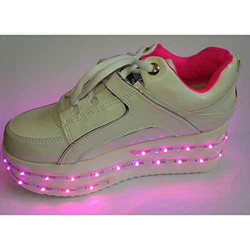 ACEVER Colors Changing LED Shoes Flashing Sneakers USB Charging LED Lighted Luminous Couple Casual Shoes Men's and Women's LED Shoes LED Sneakers Christmas Cosplay Halloween Party Rave Party Valentine's Day Gift Sports Shoes Prom Party Shoes (for Women) ( by ACEVER