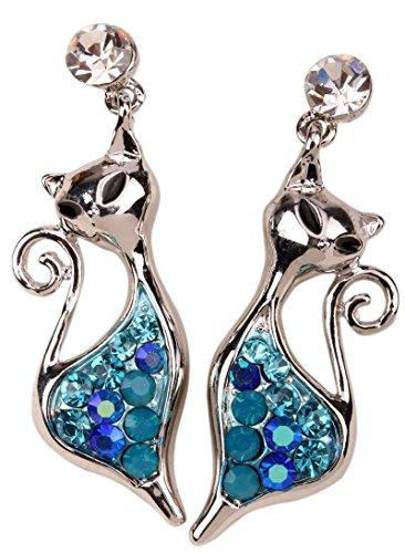 YACQ Jewelry Cat Crystal dangle Earrings Halloween Party Gifts for Women Teen Girls -