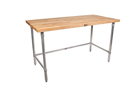 John Boos HNB12 Maple Top Work Table With Galvanized Steel Base And  Bracing, 120u0026quot;