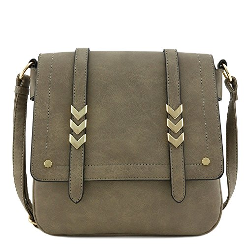 Double Compartment Large Flapover Crossbody Bag (Stone)