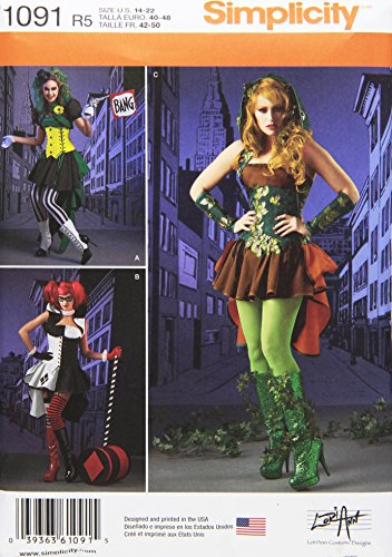 Simplicity 1091 Misses' Super Villainess Costumes Sewing Pattern, Size R5 -