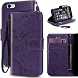 iPhone 6S Case,iPhone 6 Case, Korecase Premiun Wallet Leather Credit Card Holder Butterfly Flower Pattern Flip Folio Stand Case for Apple iPhone 6 6S With a Wrist Strap (Purple)