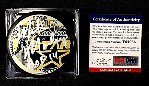 Autographed Signed Mike Modano 1999 Stanley Cup Champions Puck Dallas Stars - PSA/DNA Authenticated - Signed Hockey Pucks - NHL Gifts