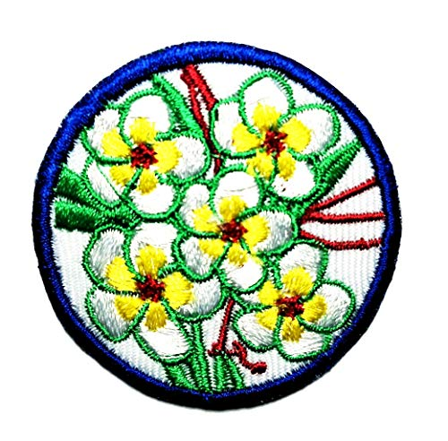 Sun Flower Retro Lotus Embroidery Sew On Patches for Clothing Clothes DIY Apparel Accessories Circle Design (Sun Flower)