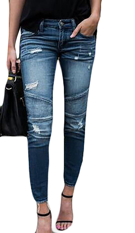 Wholesale FLCH+YIGE Women Pencil Stretch High Waist Hole Ripped Slim Denim Jeans for sale