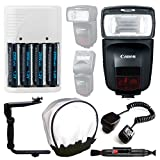 Canon Speedlite 470EX-AI Flash + Off Camera Shoe Cord + 4 AA Rechargeable Batteries & Charger (White) + Universal Flash Bounce Diffuser + Flash Bracket + Cleaning Pen - Complete Flash Accessory Bundle