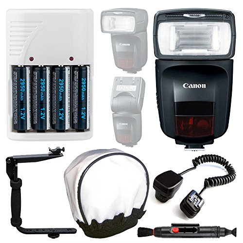 Canon Speedlite 470EX-AI Flash + Off Camera Shoe Cord + 4 AA Rechargeable Batteries & Charger (White) + Universal Flash Bounce Diffuser + Flash Bracket + Cleaning Pen – Complete Flash Accessory Bundle
