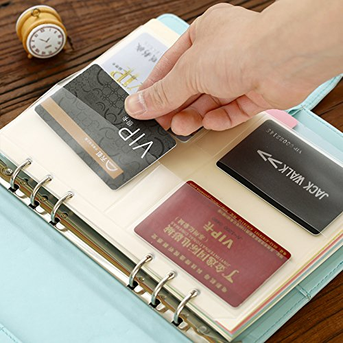 DzdzCrafts 5-Packs Clear PVC Plastic Pockets, for A5 6-Ring Notebook Binder (Holds Name Cards, Credit Cards...)