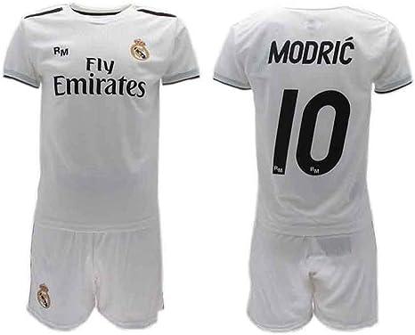Conjunto Fútbol Luka Modric 10 Real MADRIC C.F. Blancos Temporada 2018-2019 Replica Oficial con Licencia - Caja de Regalo Camiseta + Pantalón Corto (14 AÑOS): Amazon.es: Ropa y accesorios
