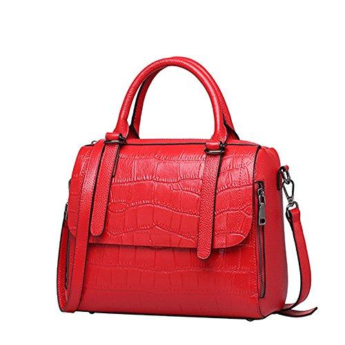 Dissa Red Q0763 Women Shoulder Leather Multiple Soft Pockets Bag Handbags rFArBqzwg