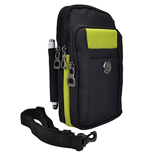 Samsung Galaxy S7 Edge Belt Clip Pouch, SumacLIfe Waist Packs Multifunction Outdoor Saddlebag Cross body Bag Case (Black/Green) - Edge Saddlebag