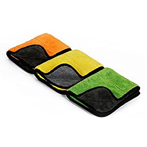 "Car Detailing Towels Pack of 3, iTavah 15"" x 17.7"" Ultra-Thick Microfiber Polishing Waxing Drying Cleaning Towel Cloth 840gsm"