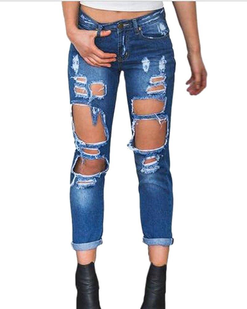 Vaqueros Anchos Mujer Talla Grande Rotos Pantalones Ocio Estilo Mezclilla Pantalones Mujer Vaqueros