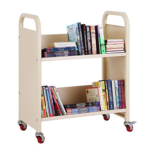 Library Carts Shelf (Heavy Duty Single-Sided Book Truck: Rolling 2-Shelf Metal Utility Cart, Office Storage Furniture and School Supply - Pearl)
