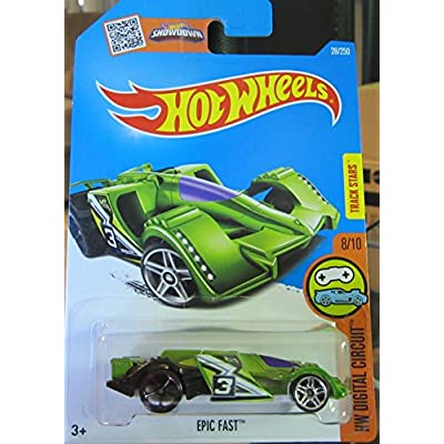 Hot Wheels 2016 HW Digital Circut Epic Fast 28/250 Lime Green: Toys & Games
