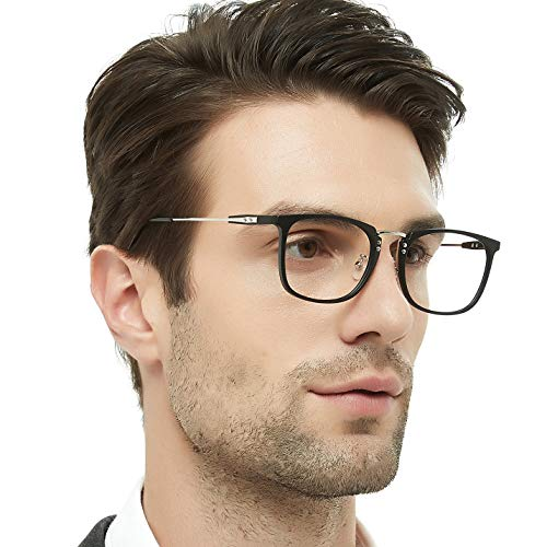 OCCI CHIARI Rectangular Optical Eyewear TR90 Non-prescription Eyeglasses Frame with Clear Lenses 53mm (Black/silver) -