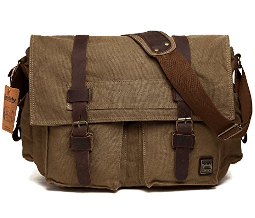Berchirly Vintage Military Men Canvas Messenger Bag for 14.7Inch Laptop