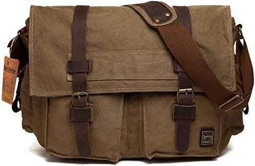 Men's Shoulder Bag, Berchirly Vintage Military Men Canvas Messenger Bag for 13.3-17.3