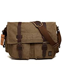 Berchirly Vintage Military Men Canvas Messenger Bag for 14.7Inch Laptop