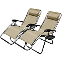 XtremepowerUS Zero Gravity Chair Adjustable Reclining Chair Pool Patio Outdoor Lounge Chairs