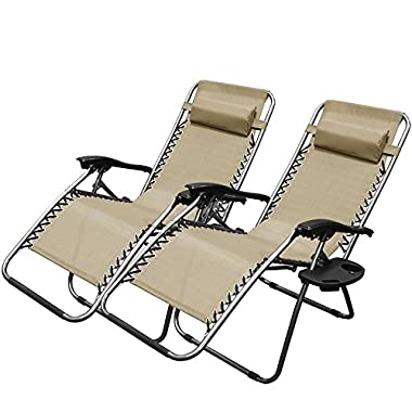 XtremepowerUS Zero Gravity Chair Adjustable Reclining Chair Pool Patio Outdoor Lounge Chairs w/Cup Holder - Set of Pair (Tan)