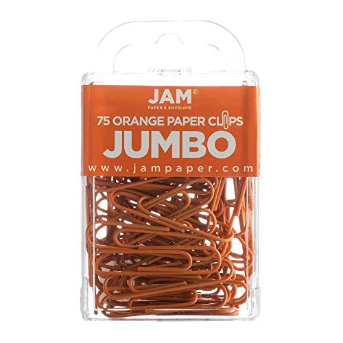 JAM PAPER Colorful Jumbo Paper Clips - Large 2 Inch - Orange Paperclips - 75/Pack