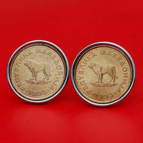 Dog Plated Cufflinks - Gorgeous 1993 Macedonia 1 Denar BU Uncirculated Coin Sheep Dog Silver plated Cufflinks NEW