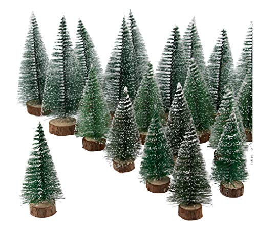 Juvale Mini Sisal Trees - 30-Pack Snow Frosted Bottle Brush Trees Christmas Miniature Tabletop Decoration, Plastic Table Centerpiece for DIY Home, Office, Party Decor, 3 Assorted Sizes