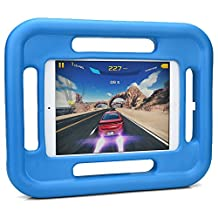 iPad Mini 4 3 2 1 kids case, COOPER GRABSTER Rugged Heavy Duty Gaming Children's Toy Tough Rubber Bumper Drop Proof Protective Carry Case Cover Handle, Screen Protector [Apple iPad Mini - Blue]