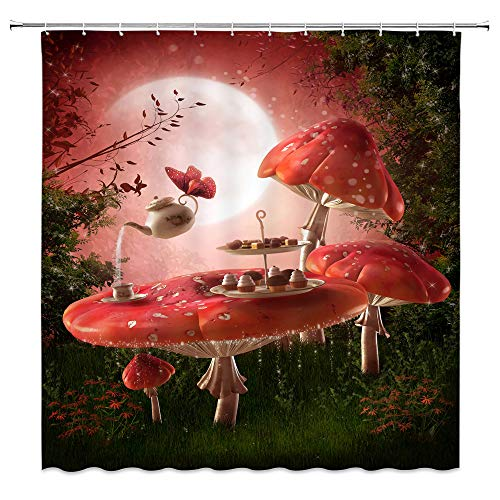 AMNYSF 	Fantasy Garden Shower Curtain Pink Mushroom Dinner Table Tea Sets Green Plants Meadow Moon Night Scenery Decor Fabric Bathroom Curtains,70x70 Inch Waterproof Polyester With Hooks