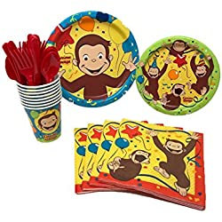 Unique Industries Curious George Birthday Party Supplies Pack Including Cake & Lunch Plates, Cutlery, Cups & Napkins for 8 Guests