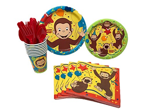Unique Industries Curious George Birthday Party Supplies Pack Including Cake & Lunch Plates, Cutlery, Cups & Napkins for 8 - Plates George Cake Curious