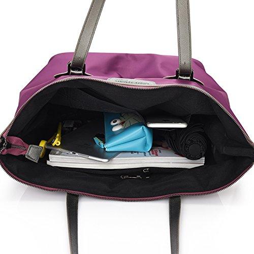 MeCooler Bolsos de Mano Mujer Bolso Bandolera Clutch Bolsa Grandes Bolsos Baratos de Moda Vintage Messenger Bag Tablet Bolsas de Viaje para Libro Colegio Morado