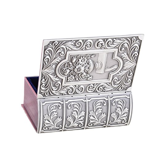Decorative Vintage Antique Book Shape Jewelry Treasure Chest Box,Floral Engraved Metal Zinc Alloy Trinket Box Silver,Keepsake Gift Case for Home Decor by Generic
